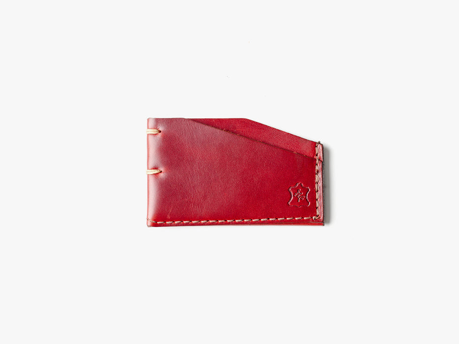 Orox Leather Co. Slim Cardholder - Red - top-down view of cardholder on a white surface