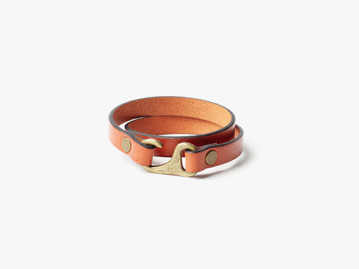 Tan Double Wrap Bracelet Standing Up - Buckle View