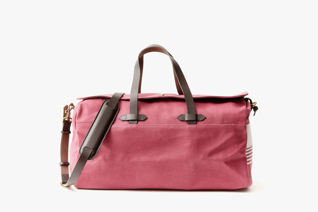 Long Wharf Supply Co. Ipswich Weekender Bag - Maroon  - front view of duffel standing upright showing top handles and shoulder strap