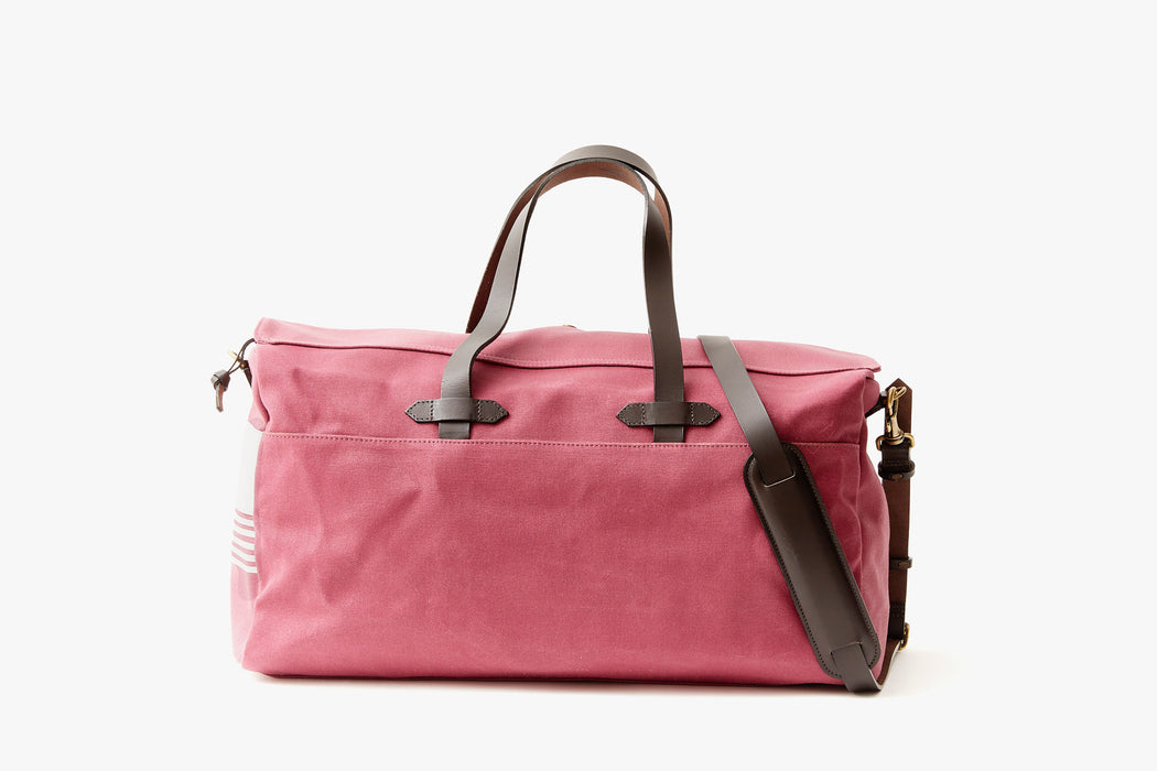 Long Wharf Supply Co. Ipswich Weekender Bag - Maroon  - front view of duffel standing upright showing top handles and shoulder strap on the other side