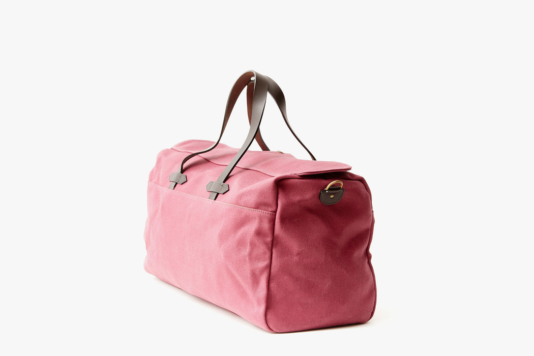 Long Wharf Supply Co. Ipswich Weekender Bag - Maroon - side view of duffel standing upright, showing top handles