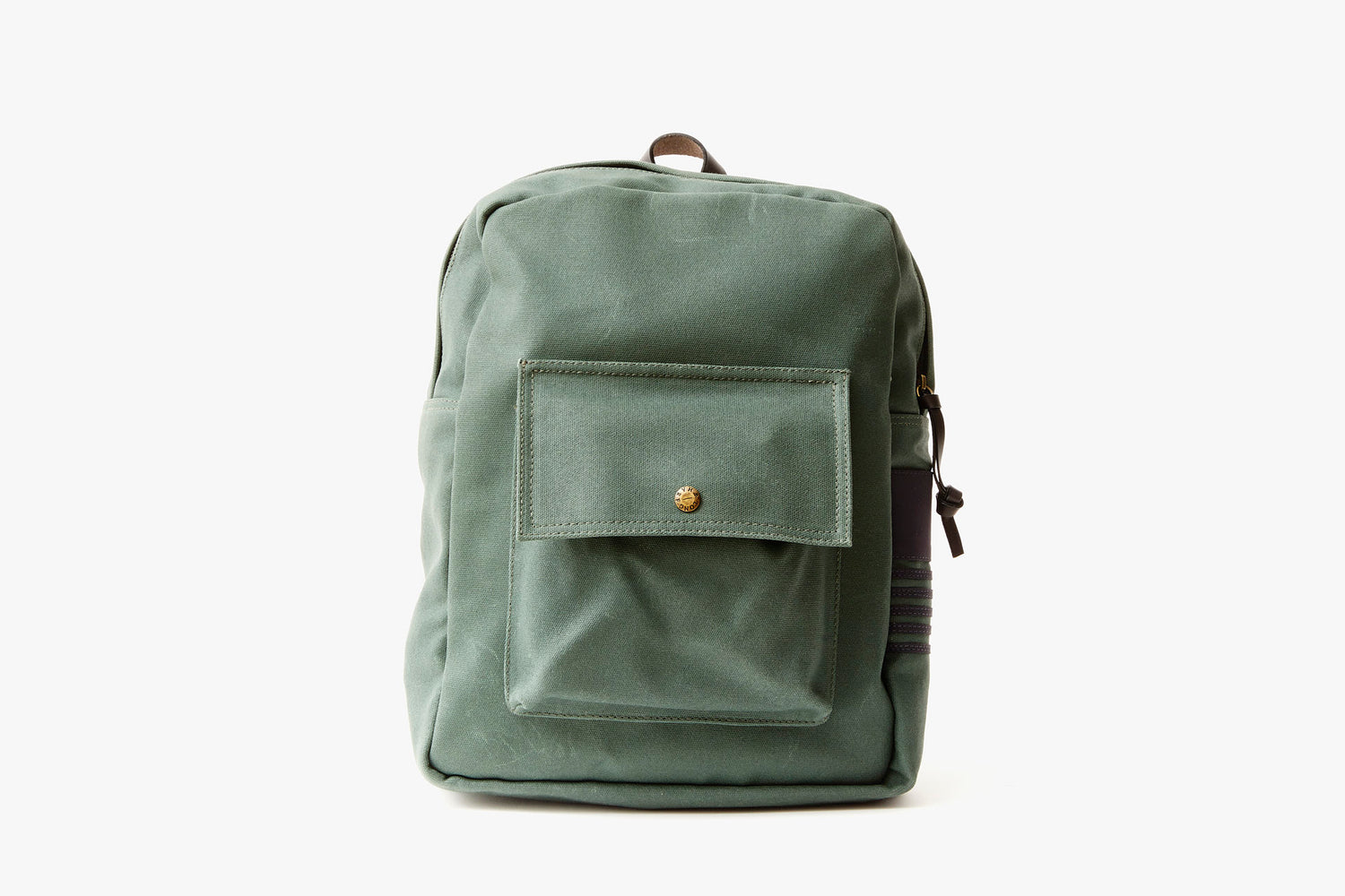 Long Wharf Supply Co. Ipswich Day Backpack - Pine - front view of backpack standing upright