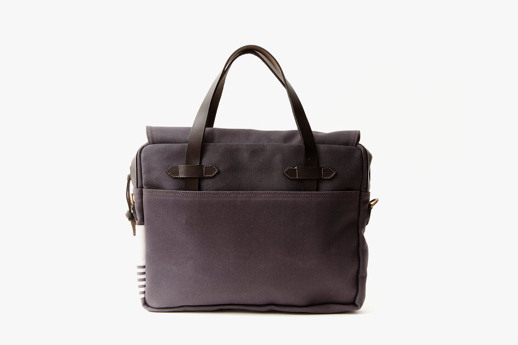 Long Wharf Supply Co. Newport Briefcase - Navy - back of briefcase, upright, showing top handles and pocket