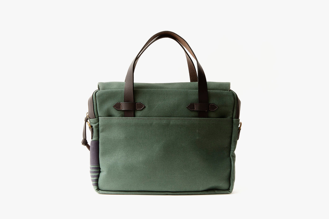 Long Wharf Supply Co. Newport Briefcase - Pine - Back of briefcase, upright, showing top handles and pocket