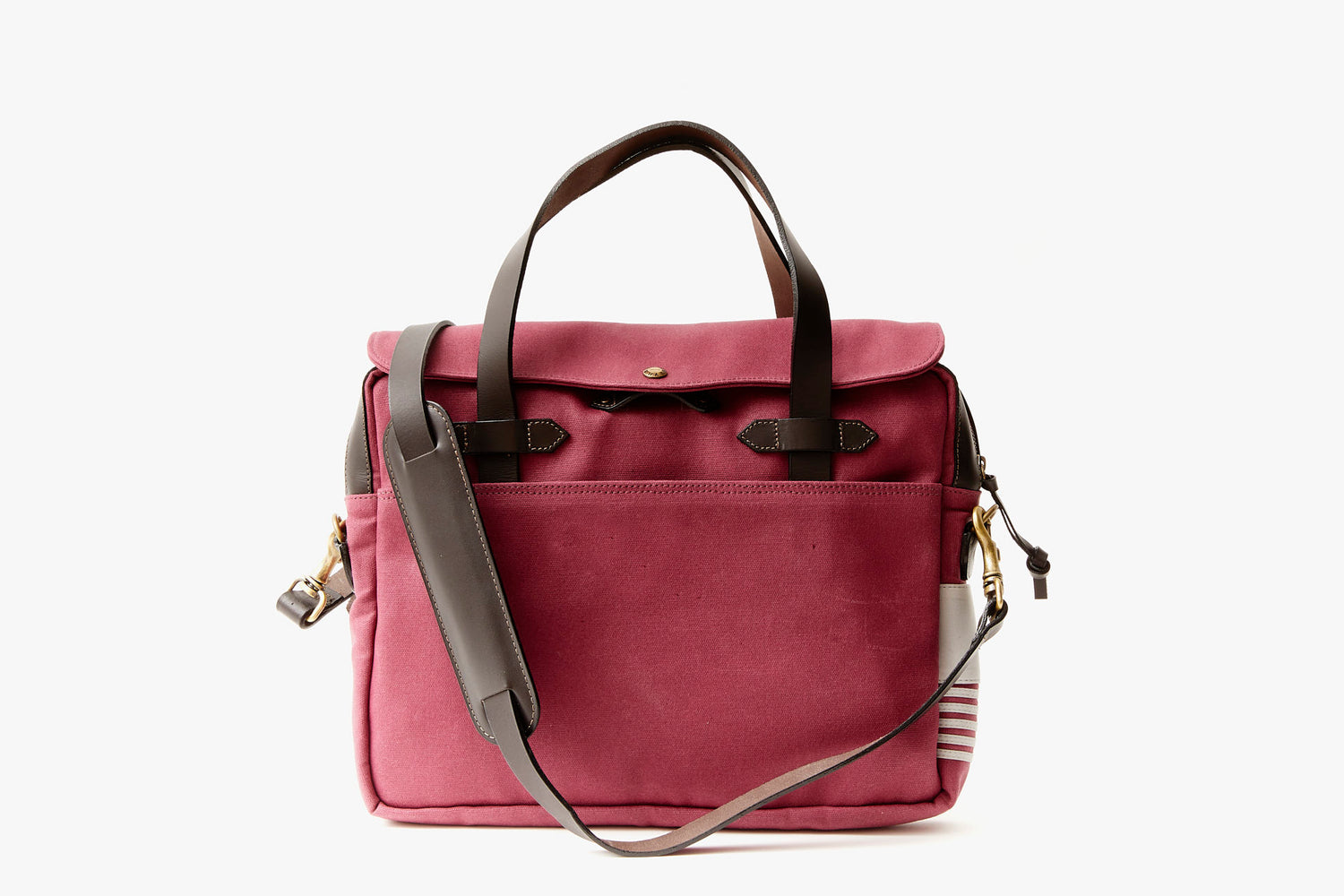 Long Wharf Supply Co. Newport Briefcase - Maroon - Front view of briefcase, upright, showing top handles and shoulder strap