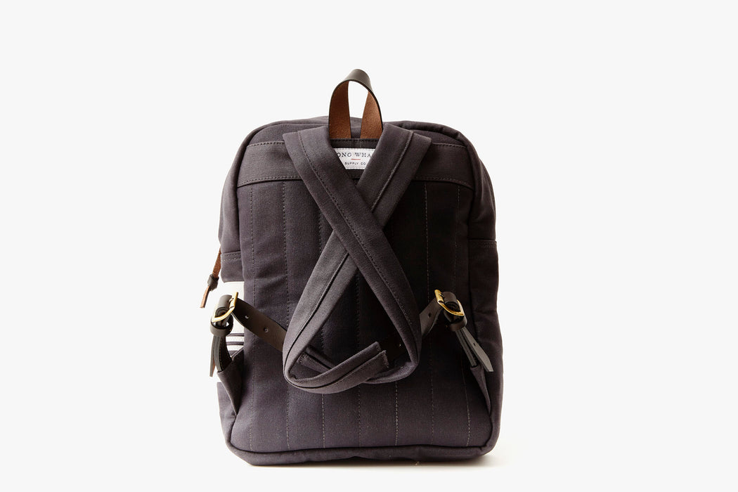 Long Wharf Supply Co. Ipswich Day Backpack - Navy - back view of backpack showing shoulder straps