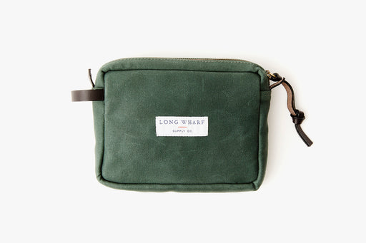 Long Wharf Supply Co. Nantucket Travel Kit Bag - Pine - top-down view of front side of bag laying flat