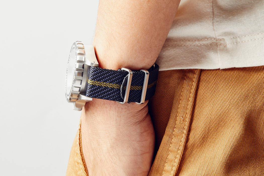 Crown & Buckle Chevron Adjustable Watch Strap - Night/Forest
