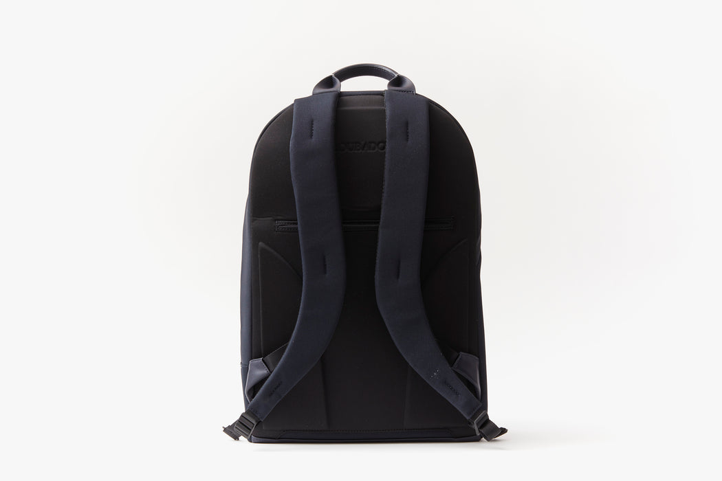 Navy - Troubadour Explorer Off Piste Rucksack - Strap side of bag