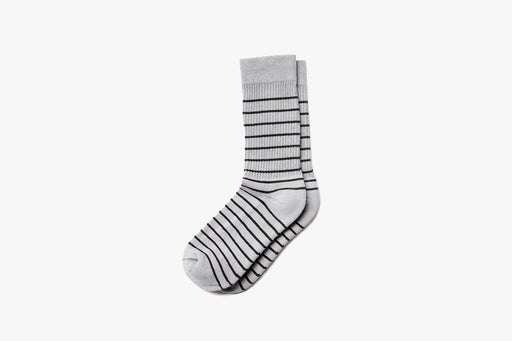 Grey American Trench x Gear Patrol Breton Stripe Kennedy Sock - Side view on white background
