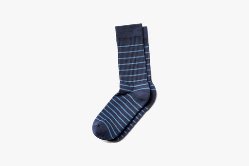 Navy American Trench x Gear Patrol Breton Stripe Kennedy Sock - Side view on white background