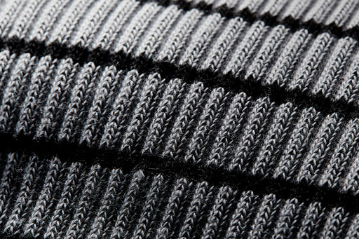 Grey American Trench x Gear Patrol Breton Stripe Kennedy Sock - close-up of gray and black stitching