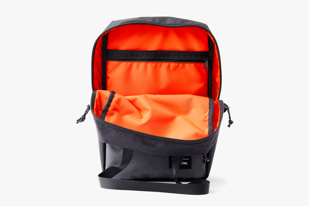 Black/Grey - Topo Designs x Gear Patrol Backpack Tote - Open with orange interior