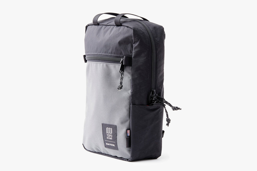 Black/Grey - Topo Designs x Gear Patrol Backpack Tote - Angled side view