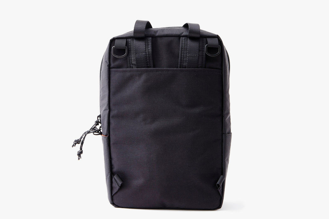 Black/Grey - Topo Designs x Gear Patrol Backpack Tote - Back with backpack straps tucked away