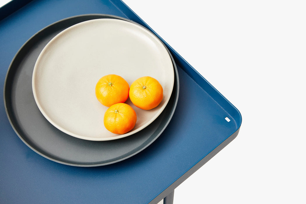 Blue Utility Cart Standing Up - Top Shelf Detail of Fruit on Plate