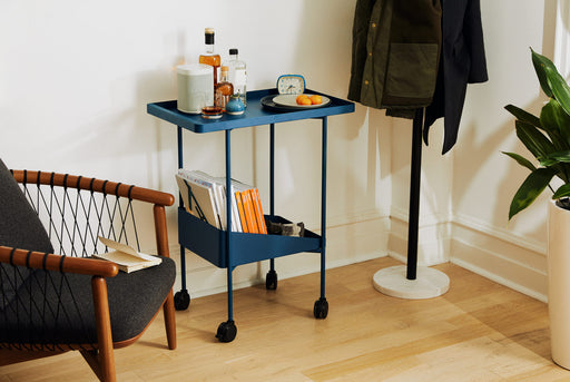 Blue Utility Cart Standing Up In Entryway - Side View - Bottles, Fruit, and Sonos Speaker on Top Shelf - Magazines, Glasses, Napkins on Bottom Shelf