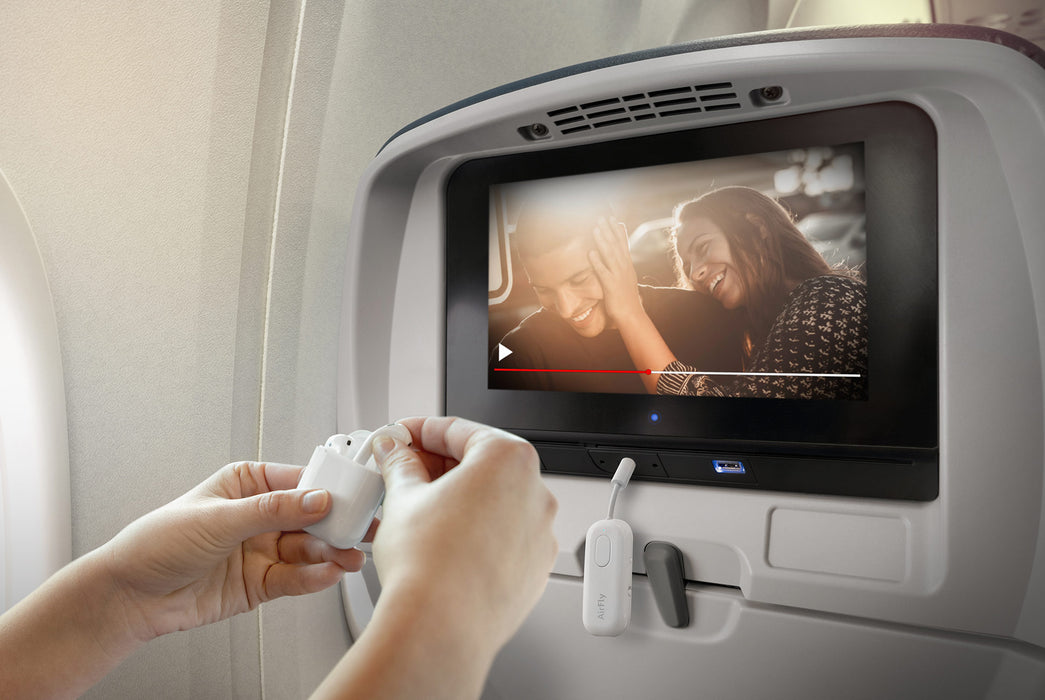 Twelve South AirFly Pro Bluetooth Transmitter - Person using on airplane TV