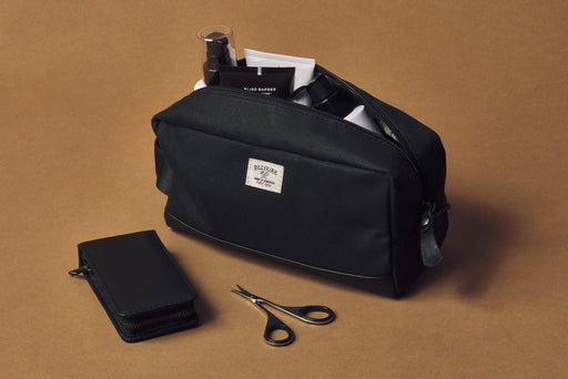 Black Toiletry Bag - Unzipped with Accessories