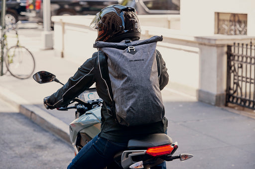 Velomacchi Giro 35L Backpack - On person riding motorcycle