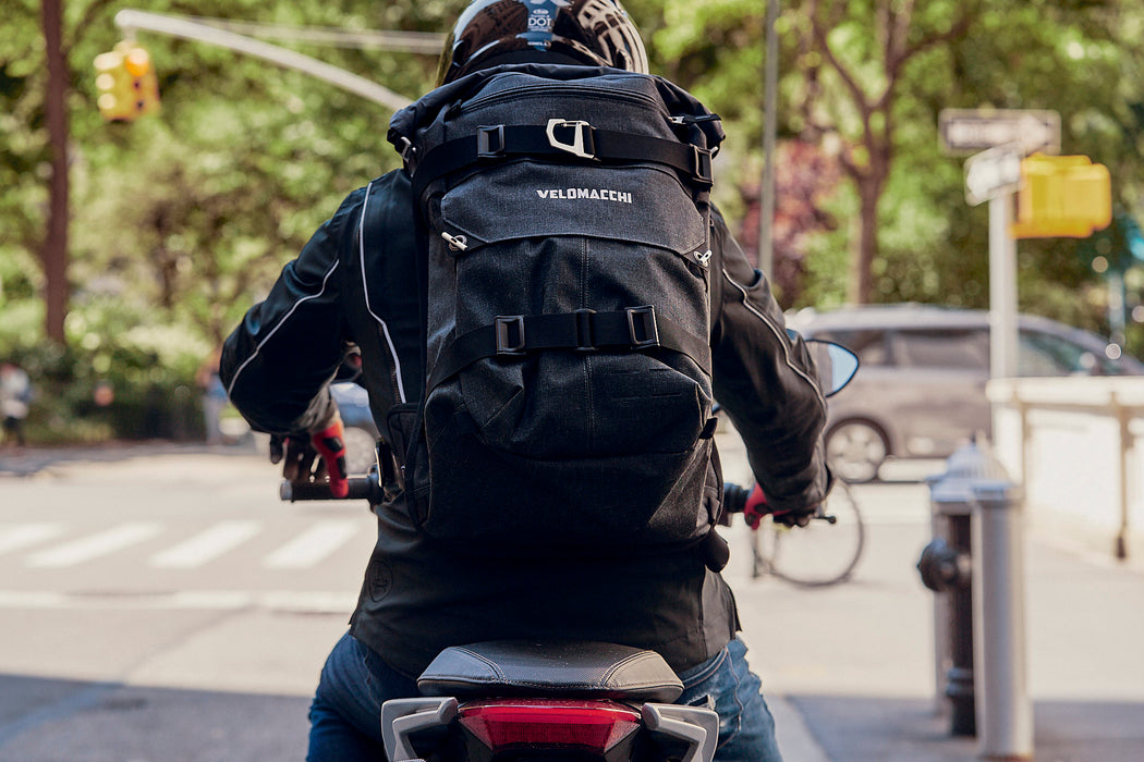 Velomacchi Speedway 40L Backpack - On person back riding motorcycle