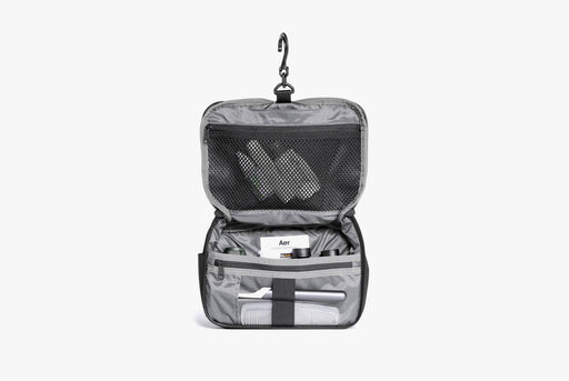 Black Travel Kit Standing Up - Unzipped Front View