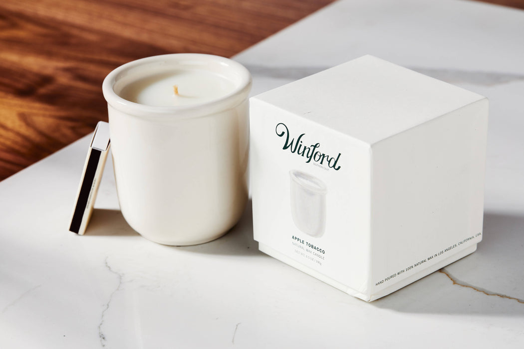 Apple Tobacco - Winford Candle - Matches, candle and packaging on table