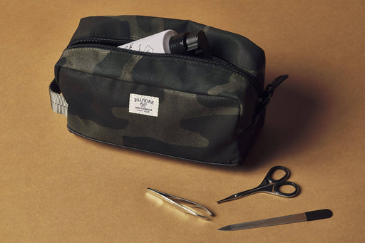 Camo Toiletry Bag - Unzipped with Accessories