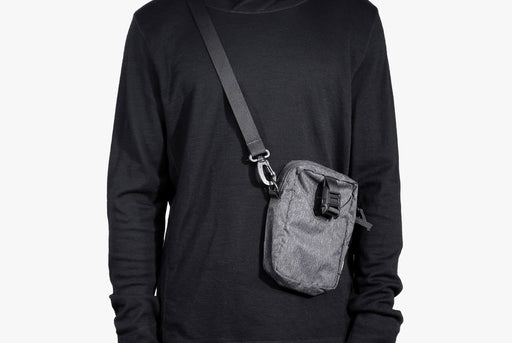 Gray Go Sling Bag on Model - Front View