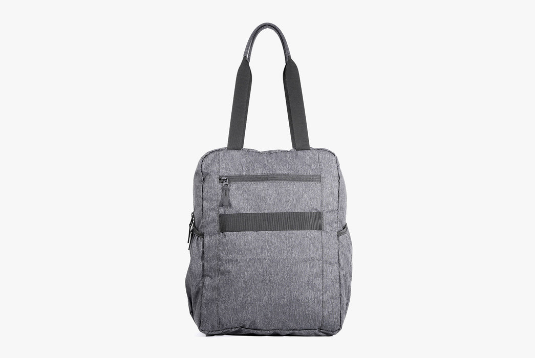 Gray Go Tote Standing Up - Rear View