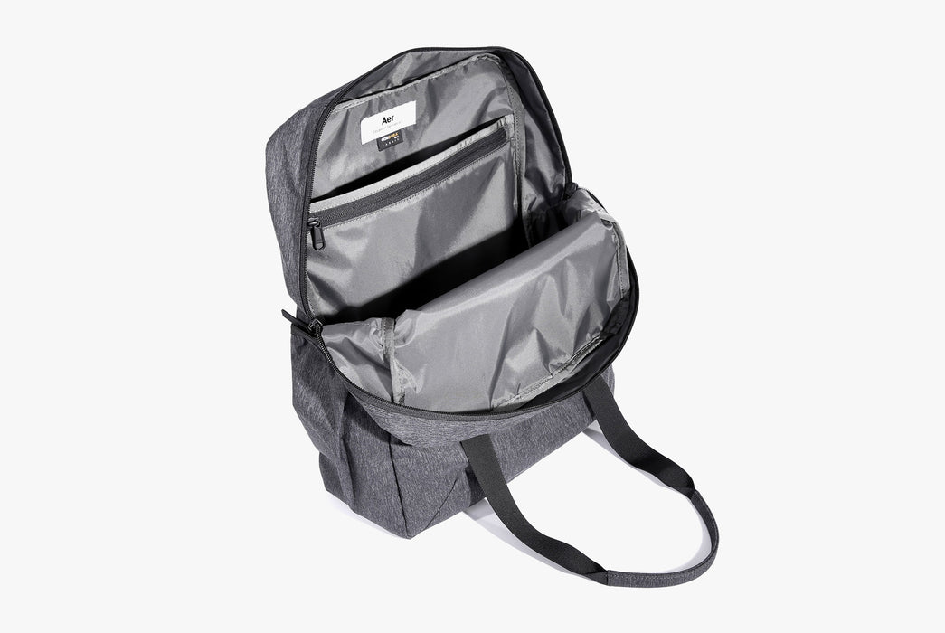 Gray Go Tote Standing Up - Unzipped Main Compartment - Top View