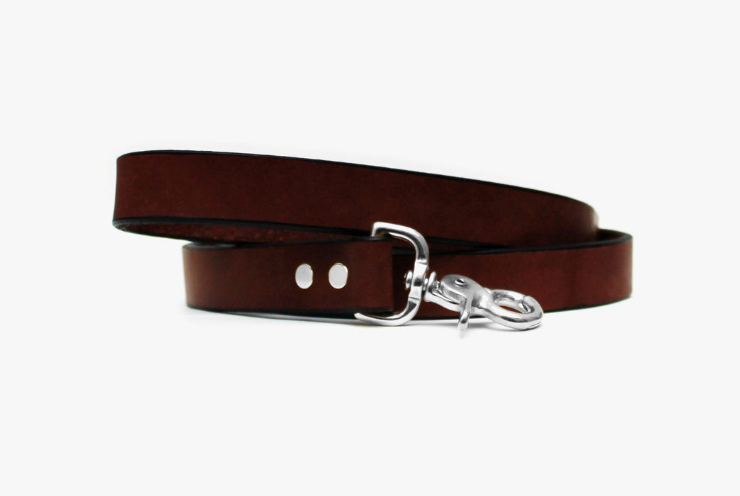 Brown Dog Leash with Silver Buckle - Coiled Up - Front View
