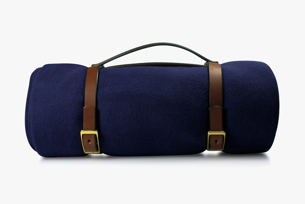 Navy Blanket - Rolled Up with Leather Carrying Strap - Side View