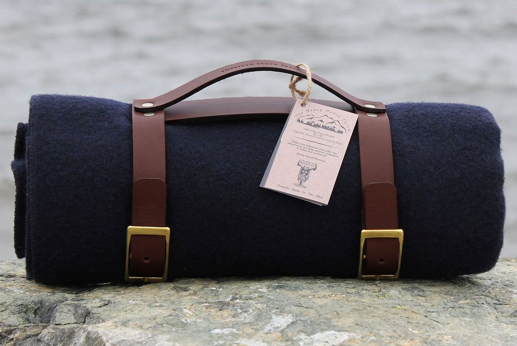 Navy Blanket - Rolled Up with Leather Carrying Strap - Side View with Tag