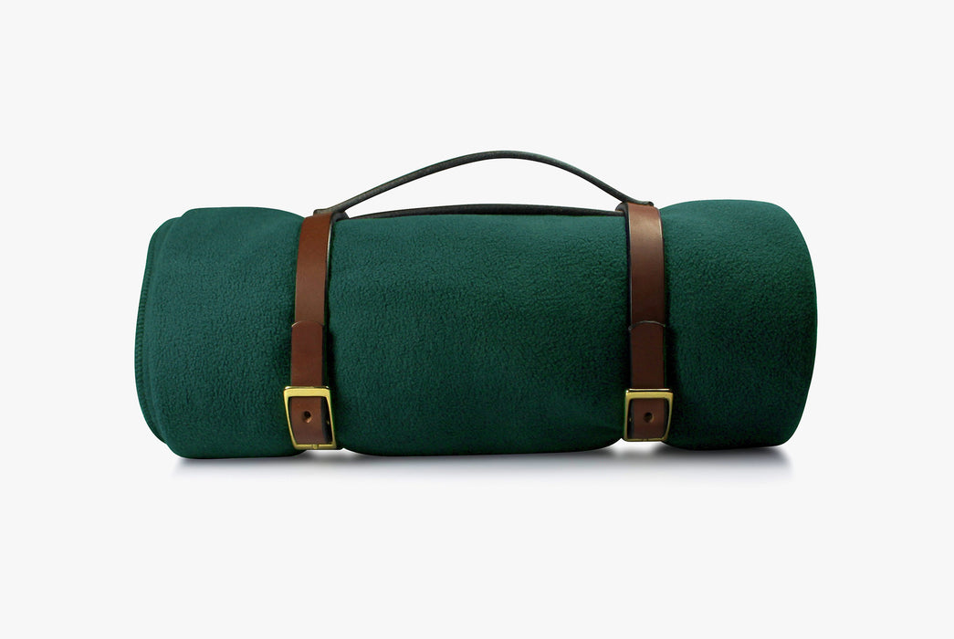 Green Blanket - Rolled Up with Leather Carrying Strap - Side View