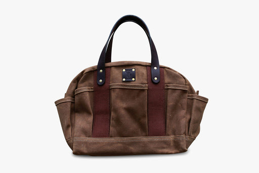 Brown Zippered Tool Tote Standing Up - Front View