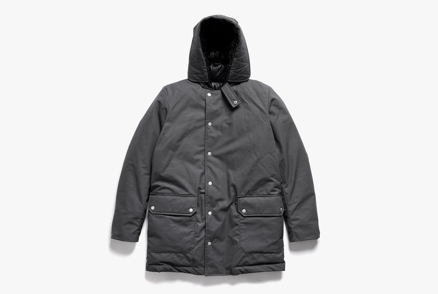 Gray American Trench x Gear Patrol Parka - front view showing buttons and hood up on white background