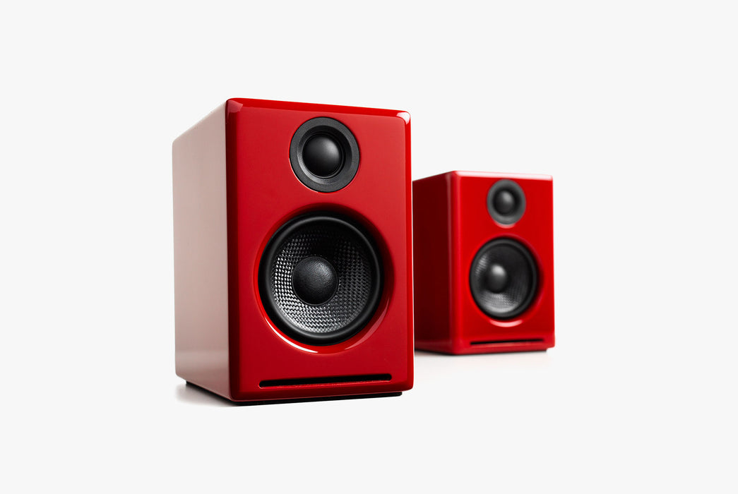 Red Speakers Standing up - Front View