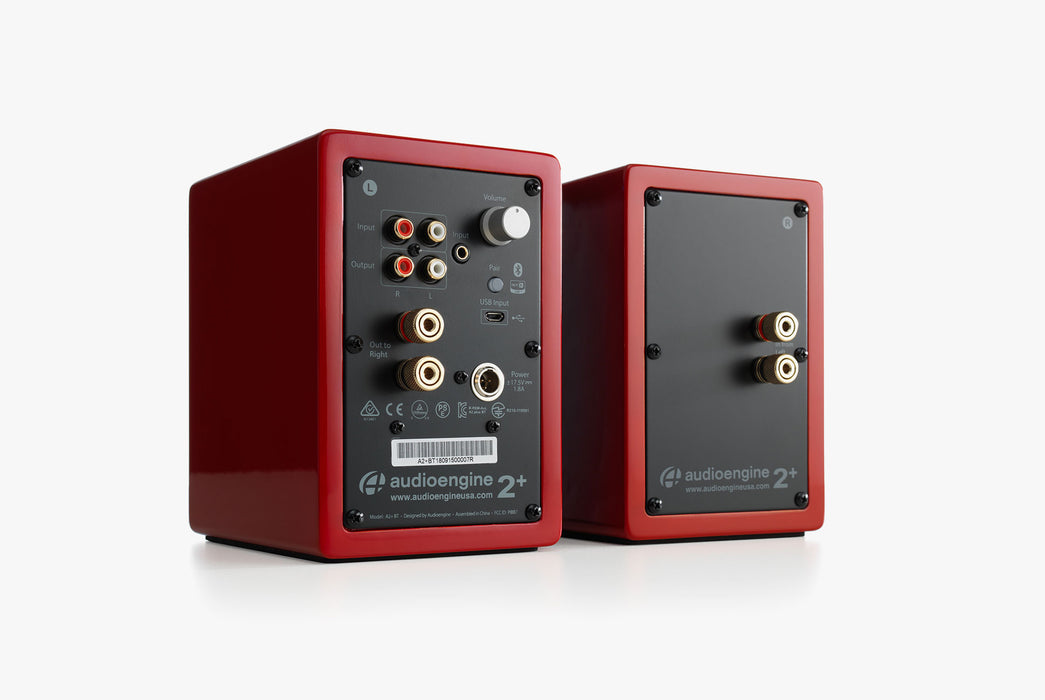 Red Speakers Standing Up - Rear View