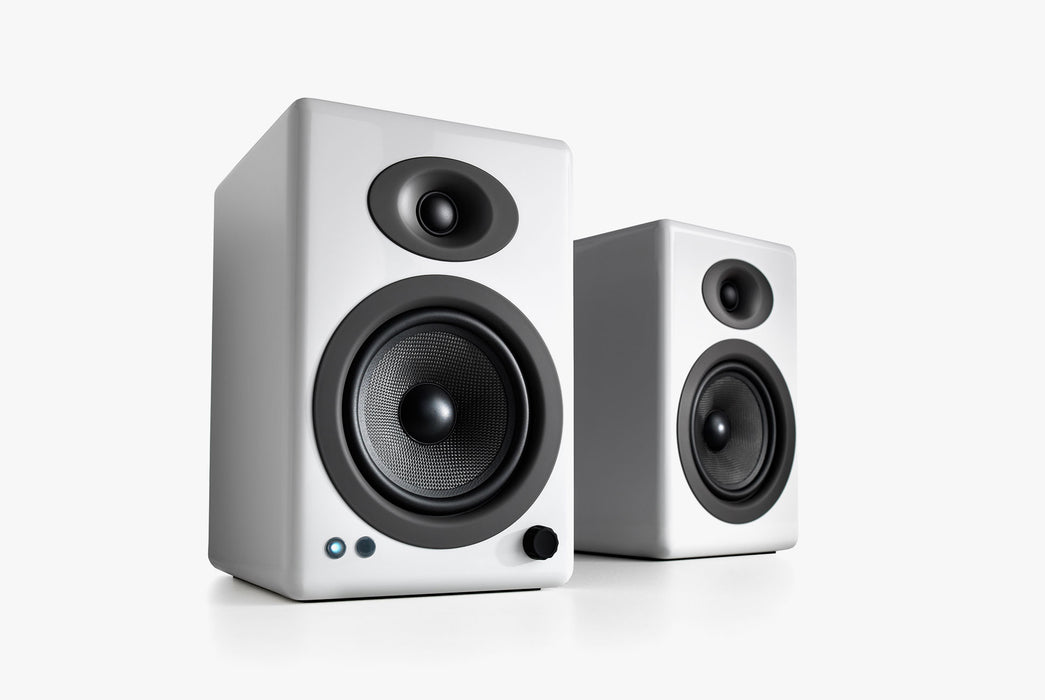 White Speakers Standing Up - Front View