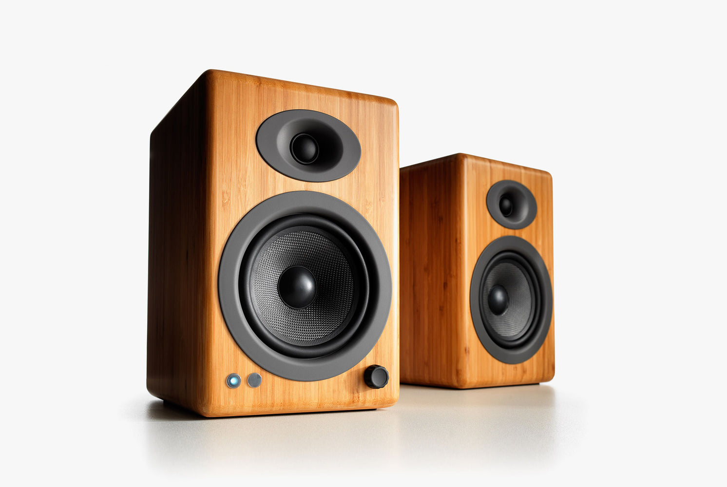 Wood Speakers Standing Up - Front View