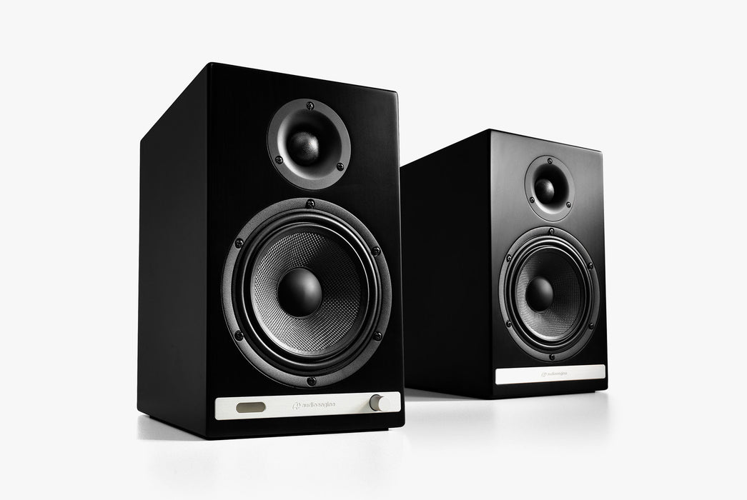 Black Speakers Standing Up - Front View