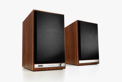 Walnut Speakers Standing Up - Front View