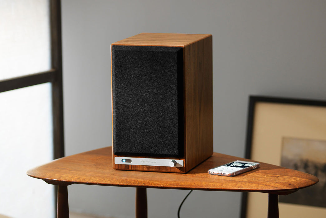Walnut Speaker on Table - Front View