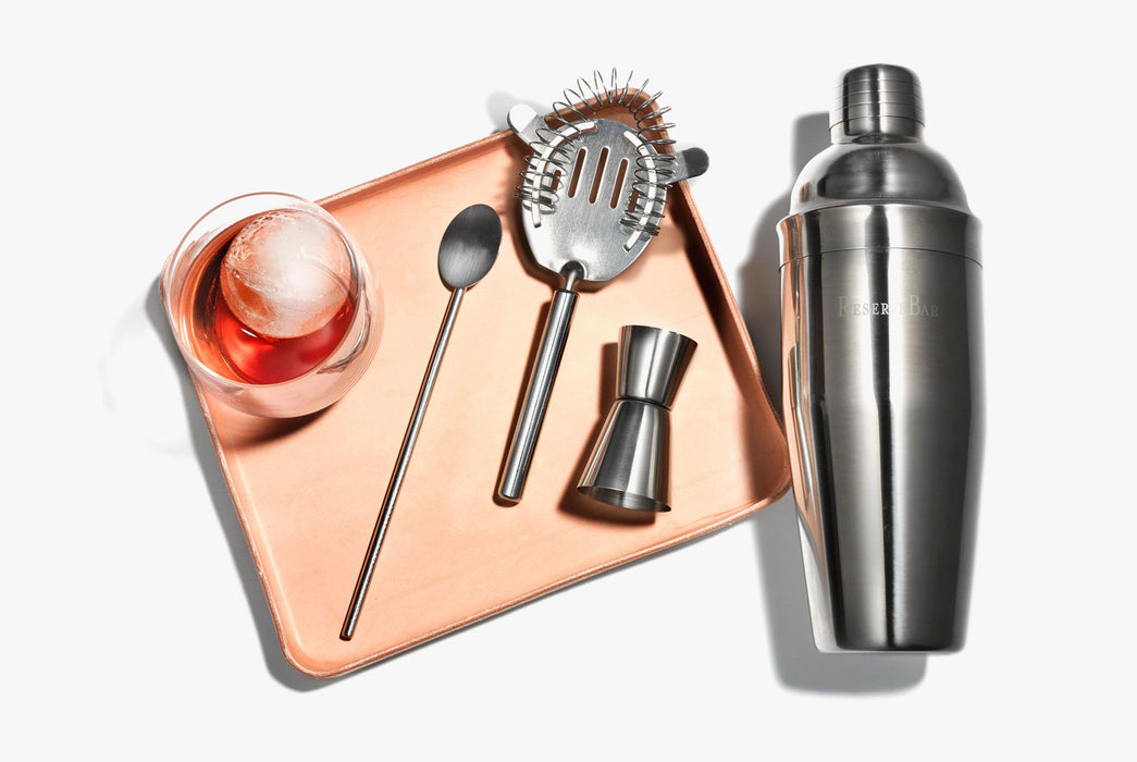 Natural Valet Tray with Cocktail and utensils