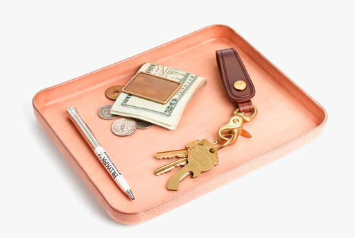 Natural Valet Tray with Wallet, Keys and Pen