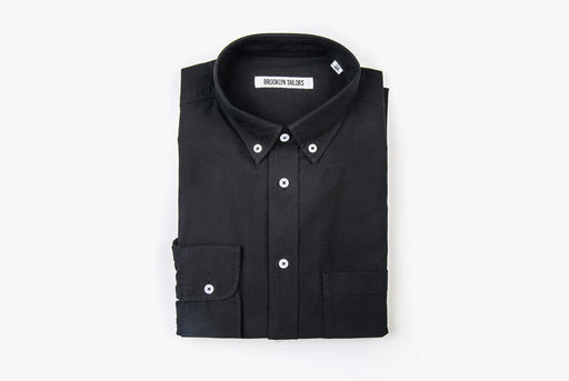 Black Oxford Shirt - Folded - Front View