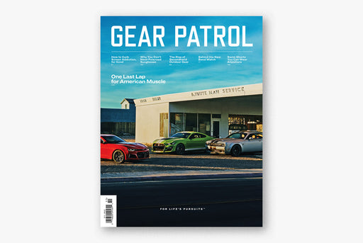 Gear Patrol Magazine - copy of Issue Thirteen, showing three muscle cars in front of a blue sky