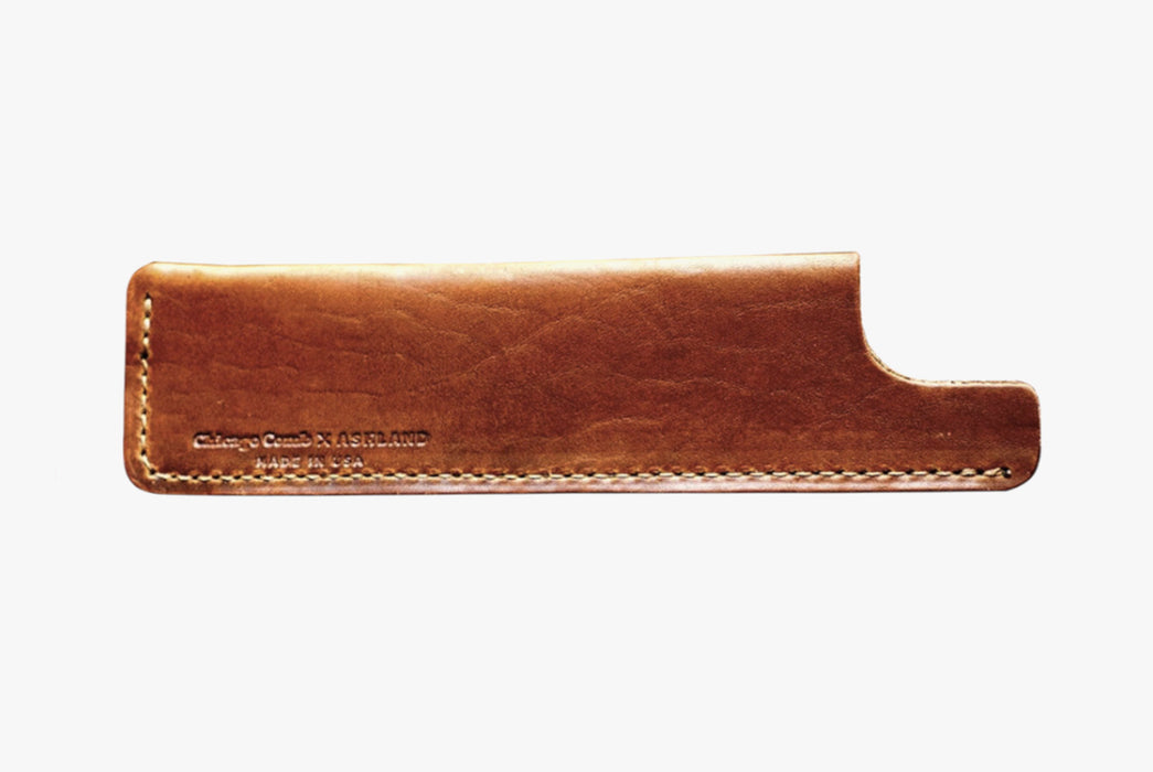 Chicago Comb Model No. 6 Carbon Fiber Comb With Horween Leather Sheath