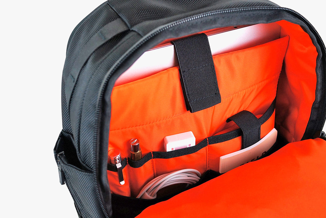 Black Sling Pack - Standing Up - Unzipped Interior View